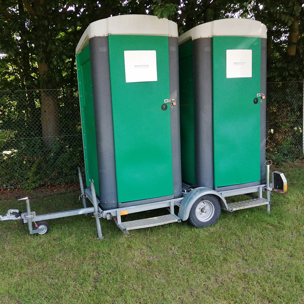 Mobil toilet dobbelt kabine på trailer - med håndvask
