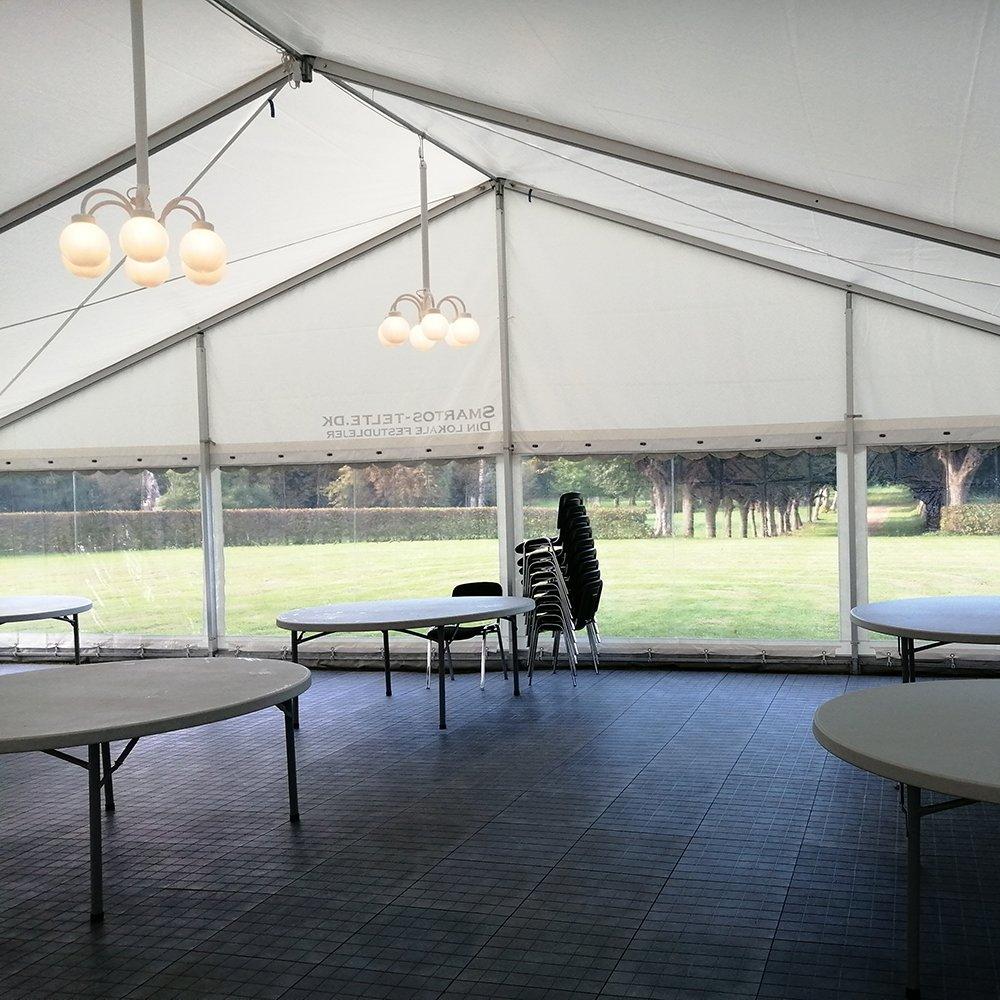 12 meter telt med panoramsider og kupellamper