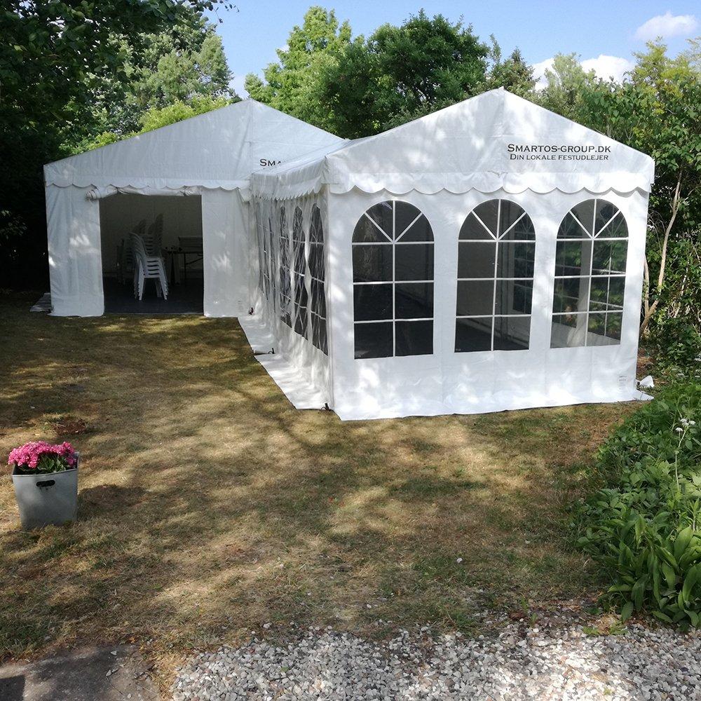 6 meter telt med en 3 meter tilbygning