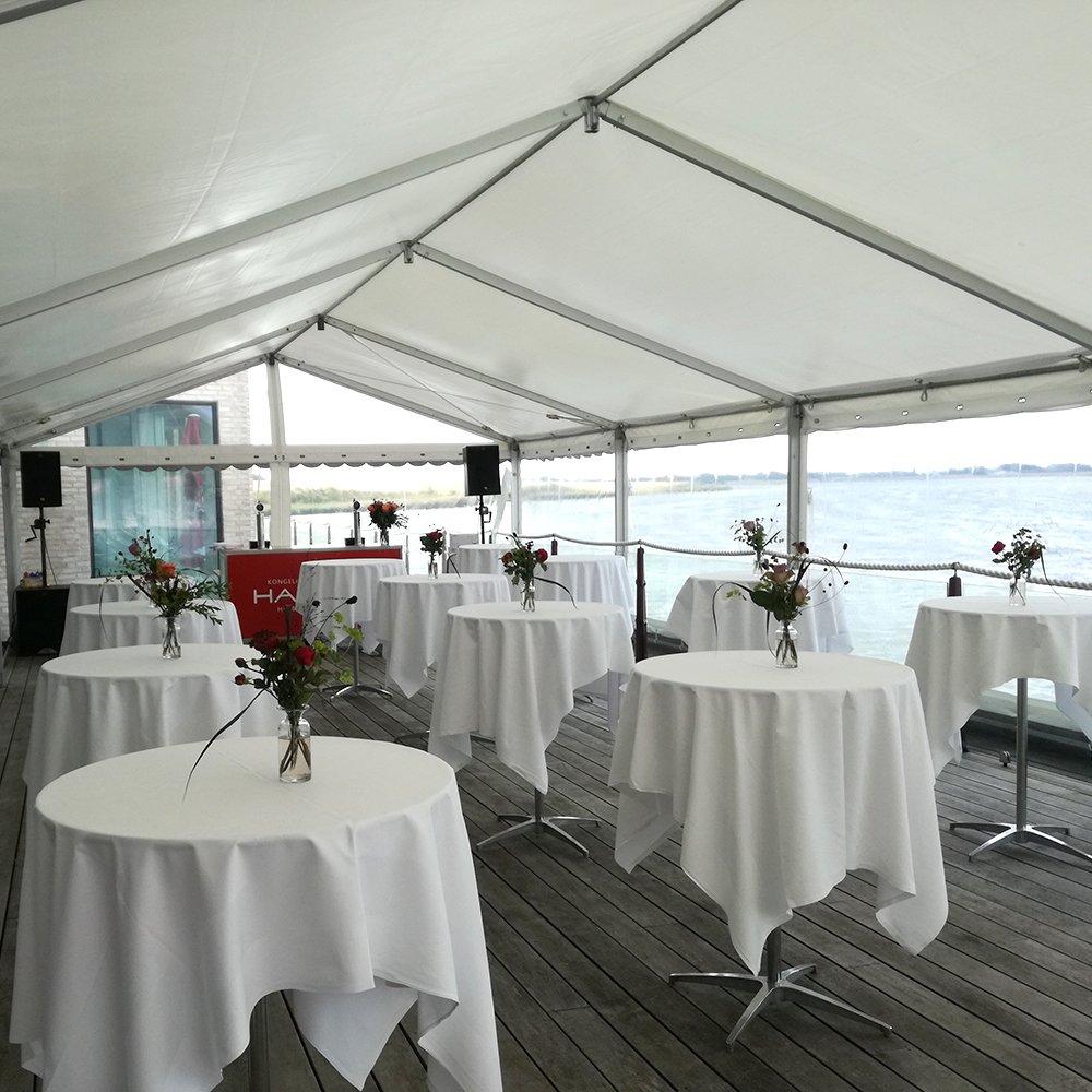 6 meter telt med panoramasider og staaborde
