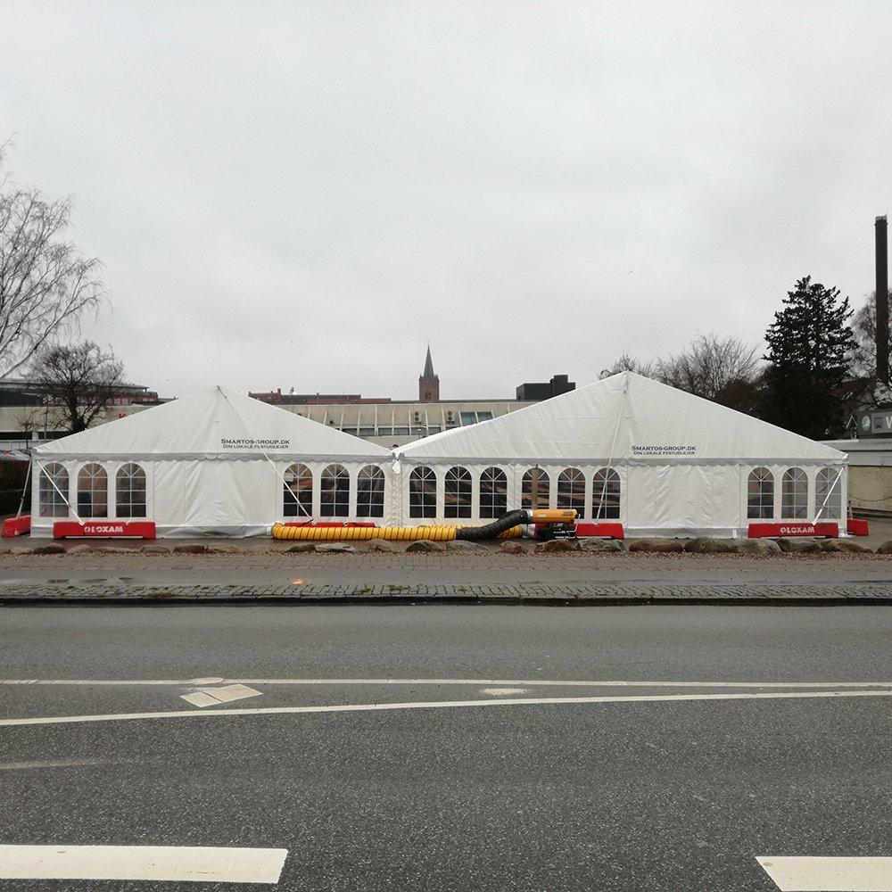 9 meter og 12 meter telt bygget sammen